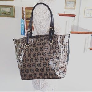 MICHAEL KORS Brown Logo Patent Leather Tote